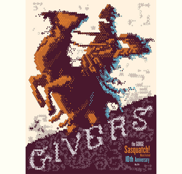 GIVERS sasquatch music festival screen print printed by the Half and Half designed by Christopher L Martin
